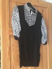 Next Ladies Black and White Spotted Short Sleeved Top UK Size 16