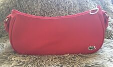 Lacoste Shoulder Bag Small Baguette PVC Exterior Raspberry Red Green Classic M40