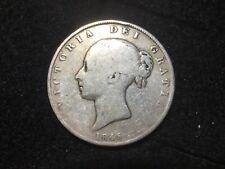1845 Great Britain 1/2 Crown ~ KM# 740 Victoria ~ Mid Grade Silver Coin NR ~496