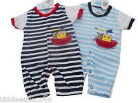 BNWT Newborn Baby Boys teddy in sailing ship romper Newborn - 0-3  - 3-6  months