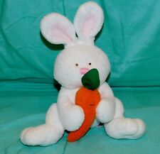"""8"""" Ty Pluffies SNACKERS White Plush Bunny Rabbit w/ Carrot 2005"""