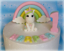 Edible, fondant, pastel rainbow with clouds, number, name and unicorn