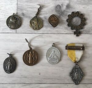 Job lot of Religious Christian Medals Mostly Vintage/Rosary Ring