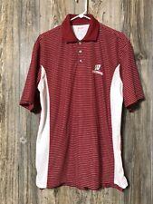 Wisconsin Badgers Antigua Desert Dry Large Polo Red Stripe Shirt