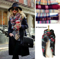 Women Warm Blanket Oversized Tartan Scarf Wrap Shawl Plaid Cozy Checked Pashmina