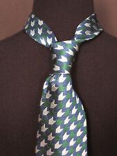 Russo Uomo Mens 100% Silk Tie Green Royal Blue Steel Blue