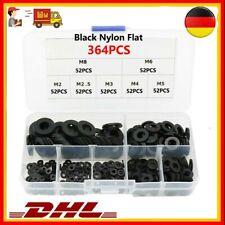 364Tlg M2-M8 Schwarz Nylon Gummi Flache Unterlegscheiben Isolier Dichtungen Box