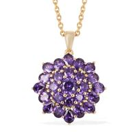 "Yellow Gold Plated Cubic Zirconia CZ Purple Pendant with Chain 20"" Cttw 6.5"