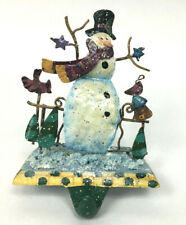 Stocking Holder Snowman Blue Snow Cast Iron Base Copper Christmas Holiday Hanger