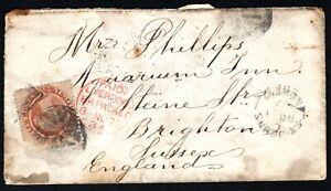 Newfoundland 1877 cover St Johns to Brighton England 12C SG33 Cat £48