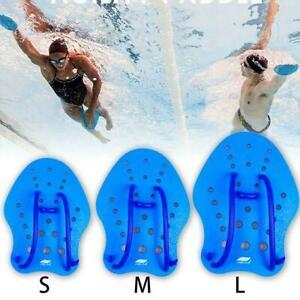 1 Pair Blue Swim Training Hand Paddles Adjustable Gloves Sports Gear Swim A4Z6