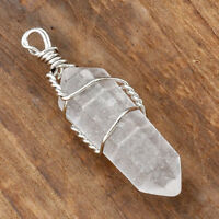 1pc Natural Clear Rock Quartz Gemstone Wire Wrap Pendulum Healing Pendant Gift