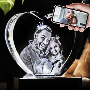 3D Photo Crystal Heart Custom Laser Etched Print Personalized Engraved Picture