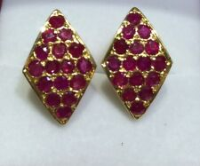 14k Solid Yellow Gold  Earrings 5.12CT Natural Round Ruby 4.31GM