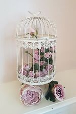 VINTAGE STYLE BIRD CAGE DECOR TABLE CENTREPIECE WEDDING DISPLAY ANTIQUE CREAM
