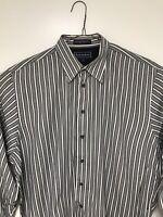 Paul Fredrick Men's Shirt Long Sleeve Large 100% Cotton Blue White Striped