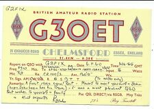 ESSEX - CHELMSFORD 1960 QSL Radio Transmission Confirmation Card  G3OET