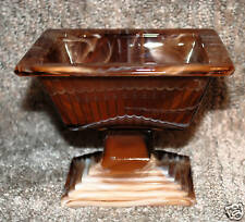 IMPERIAL GLASS CHOCOLATE SLAG SWIRL COMPOTE COMPORT