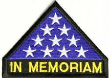"""(A41) In Memoriam Folded American Flag 3.5"""" x 2.5"""" iron on patch (2521)"""