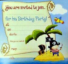 16 Partito Pirata invitare Schede Inviti Blu CARTONE festeggiato ISLAND PALM