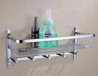 Bathroom Stainless Steel Shower Shelf Caddy Basket Storage with Robe Hook,Chrome