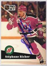 STEPHANE RICHER Montreal Canadiens 1992 PROSET AUTOGRAPHED HOCKEY CARD JSA