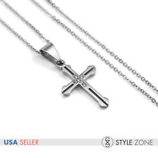 """18"""" WOMEN's Stainless Steel Mini Small Golden Cross Pendant w/ Necklace Gift 13F"""