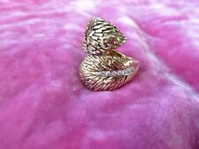 1960'S HEAVY 14K GOLD MOBA FEATHER RING WITH PAVE DIAMONDS HALLMARKED 13.5 G