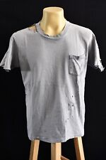Distressed vintage Blank Faded Thrashed pocket T Shirt worn work stains 20x25