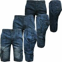 Mens Denim Shorts Combat Cargo Pockets Casual Long 3/4 Knee Length Jeans Pants
