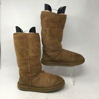 UGG Womens 7 Classic Tall Shearling Winter Boots Brown Sheepskin Suede Wool 5815