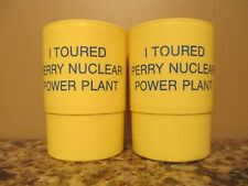 (2) Vintage Yellow Plastic Perry Nuclear Power Plant Tour Cups - Ohio