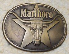1987 Collectible MARLBORO Men's Belt Buckle Solid BRASS  Philip Morris