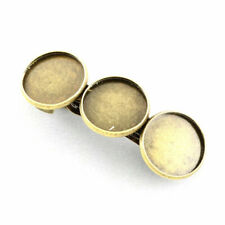 2X Iron Hair Barrette Findings Vintage HairPins Making Brass Tray Antique Bronze