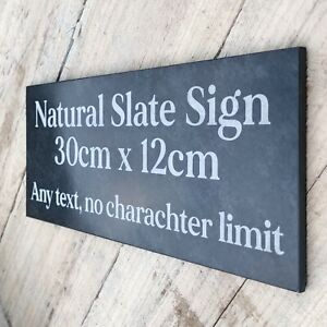 Slate House Sign Door Number Plaque, 30x12, Personalised Engraved any Text,Honed
