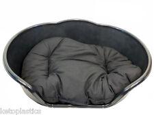 MEDIUM BLACK PLASTIC DOG BED / CAT BED WITH BLACK CUSHION - BASKET