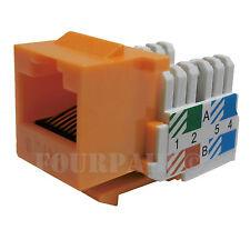 50x Pack Lot CAT6 Network RJ45 Port 110 Punch Down Keystone Snap-In Jack Orange