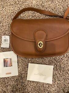 COACH Prairie Bag 9954 Tan Brown Crossbody All Leather Vintage Purse Turn Lock
