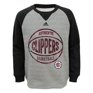 Adidas NBA Kids (4-7) Los Angeles Clippers Varsity Fleece Crew, Gray