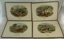 Vintage Placemats English Life 4 Sporting Dogs Pointer Fox Hound Bassett Setters