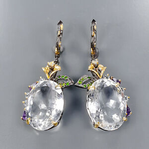 80 ct IF Quality Quartz Earrings Silver 925 Sterling   /E57108