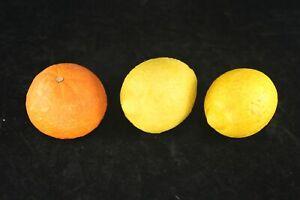 3 Pieces Italian Alabaster Stone Fruit Lemons Tangerine - Majolica Trompe L'Oeil