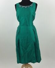 Tahari Womens Green Jeweled Neck Embellished Sheath Sleeveless Dress Size 14