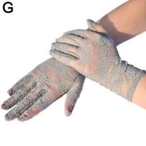 Women Short Lace Floral Fingerless Gloves Gothic Bride Wedding Mittens G2B1