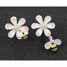 Handpainted Odd Flower Bees Silver Plated Earrings Jewellery Gift