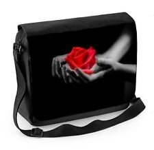 Red Rose in Hands Laptop Messenger Bag - Floral Flowers