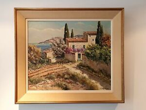 Lucien Potronat (1889-1974) Cote d'Azur Agay Original Oil Painting on Canvas