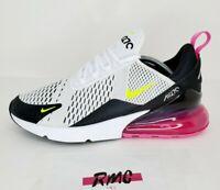 Nike Air Max 270 Running Shoes White Volt Fuchsia AH8050 109 NIB Men's Size 11