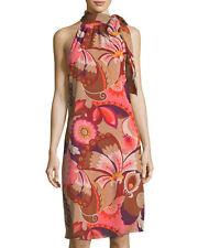 $298NWT TRINA TURK BECOMING ABOVE KNEE HALTER TIE NECK FLORAL PRINTED DRESS SZ 8