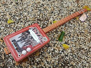 CIGAR BOX GUITAR - 3- STRING- ANZAC TIN- HAND CRAFTED BY SALTY DOG -FREE SLIDE